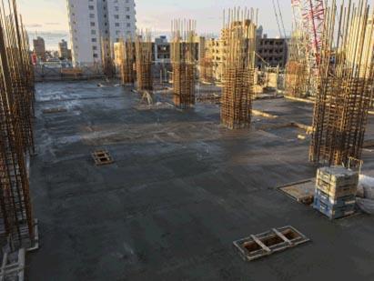 ウエスト棟 7階立上り8階床 コンクリート打設完了