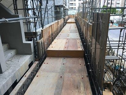 廊下棟 壁配筋・スラブ型枠施工完了