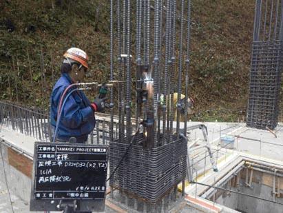 圧接工事 1F柱 圧接状況