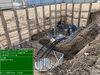 ウエスト棟基礎掘削ラス枠取付状況 R3.3.11